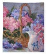 Pink And Blue Hydrangeas Fleece Blanket