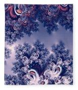Pink And Blue Morning Frost Fractal Fleece Blanket