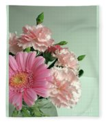 Pink And Green Floral Fleece Blanket