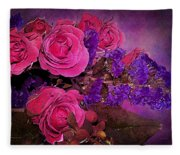 Pink And Purple Floral Bouquet Fleece Blanket