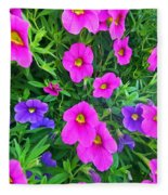 Pink And Purple Petunias Fleece Blanket