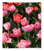 Pink And Red Ruffly Tulips Square Fleece Blanket