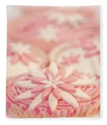 Pink And White Cup Cakes Fleece Blanket