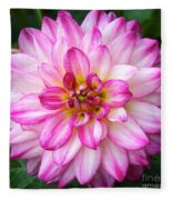 Pink And White Dahlia Square Fleece Blanket