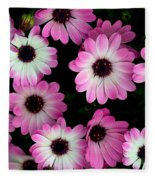 Pink And White Daisies Fleece Blanket