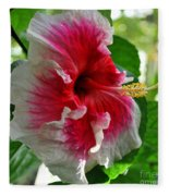 Pink And White Hibiscus Fleece Blanket