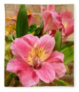 Pink And Yellow Flowers Fleece Blanket