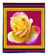 Pink And Yellow Rose Fleece Blanket