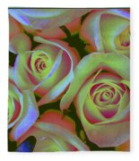 Pink And Yellow Roses Pop Art Fleece Blanket