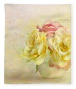 Pink And Yellow Roses Fleece Blanket