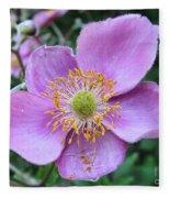 Pink Anemone Flower Fleece Blanket