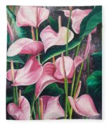 Pink Anthuriums Fleece Blanket