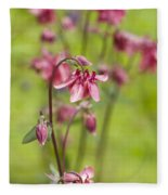 Pink Aquilegia Fleece Blanket