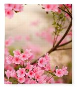Pink Azalea Bush Fleece Blanket