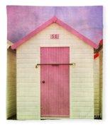 Pink Beach Hut Fleece Blanket