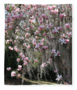 Pink Blossoms And Gray Moss Fleece Blanket