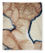 Pink Caryatid With A Blue Border Fleece Blanket