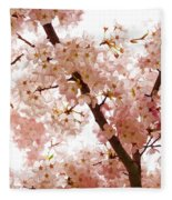 Pink Cherry Blossoms - Impressions Of Spring Fleece Blanket