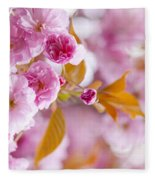 Pink Cherry Blossoms In Spring Orchard Fleece Blanket
