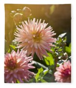 Pink Dahlia Garden Fleece Blanket