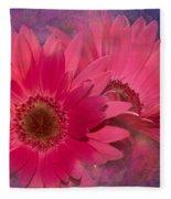 Pink Daisies Abstract Fleece Blanket