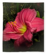 Pink Day Lily Fleece Blanket