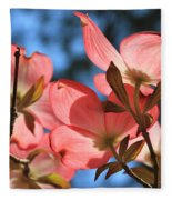 Transparent Glory Pink Dogwood Easter Flower Art Fleece Blanket