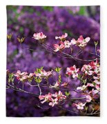 Pink Dogwood With Purple Azaleas Fleece Blanket