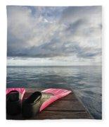 Pink Fins On Dock Fleece Blanket