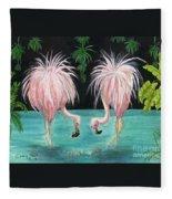 Pink Flamingo Booty Tropical Birds Art Cathy Peek Fleece Blanket