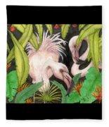 Pink Flamingos Jungle Cathy Peek Tropical Bird Art Fleece Blanket