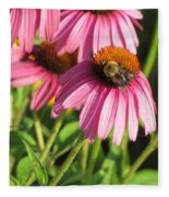 Pink Flower And Bee Fleece Blanket