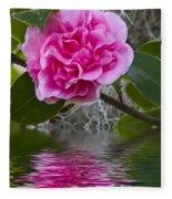 Pink Flower Reflection Fleece Blanket