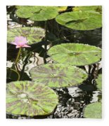 One Pink Water Lily With Lily Pads Fleece Blanket