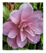 Pink Flower With Rain Drops Fleece Blanket