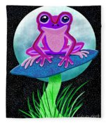 Pink Frog And Blue Moon Fleece Blanket