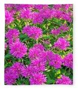 Pink Garden Flowers Fleece Blanket