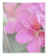 Pink Geraniums Fleece Blanket