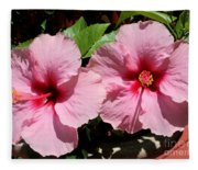 Pink Hibiscus Blooms Fleece Blanket