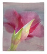 Pink Hibiscus Flower Fleece Blanket