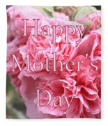 Pink Hollyhock Mother's Day Card Fleece Blanket