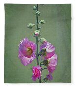 Pink Hollyhocks Fleece Blanket