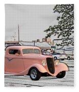Pink Hot Rod Cruising Woodward Avenue Dream Cruise Selective Coloring Fleece Blanket