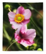 Pink Japanese Anemone Fleece Blanket