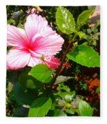 Pink Java Flower  Fleece Blanket