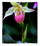 Pink Lady's Slipper Fleece Blanket