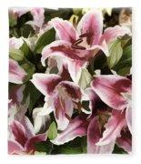 Pink Lilies I Fleece Blanket