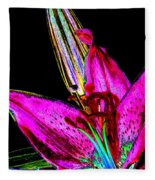 Pink Lily And Bud Pop Art Fleece Blanket