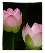 Pink Lotus Duet Fleece Blanket