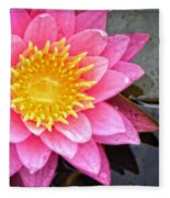 Pink Lotus Flower - Zen Art By Sharon Cummings Fleece Blanket